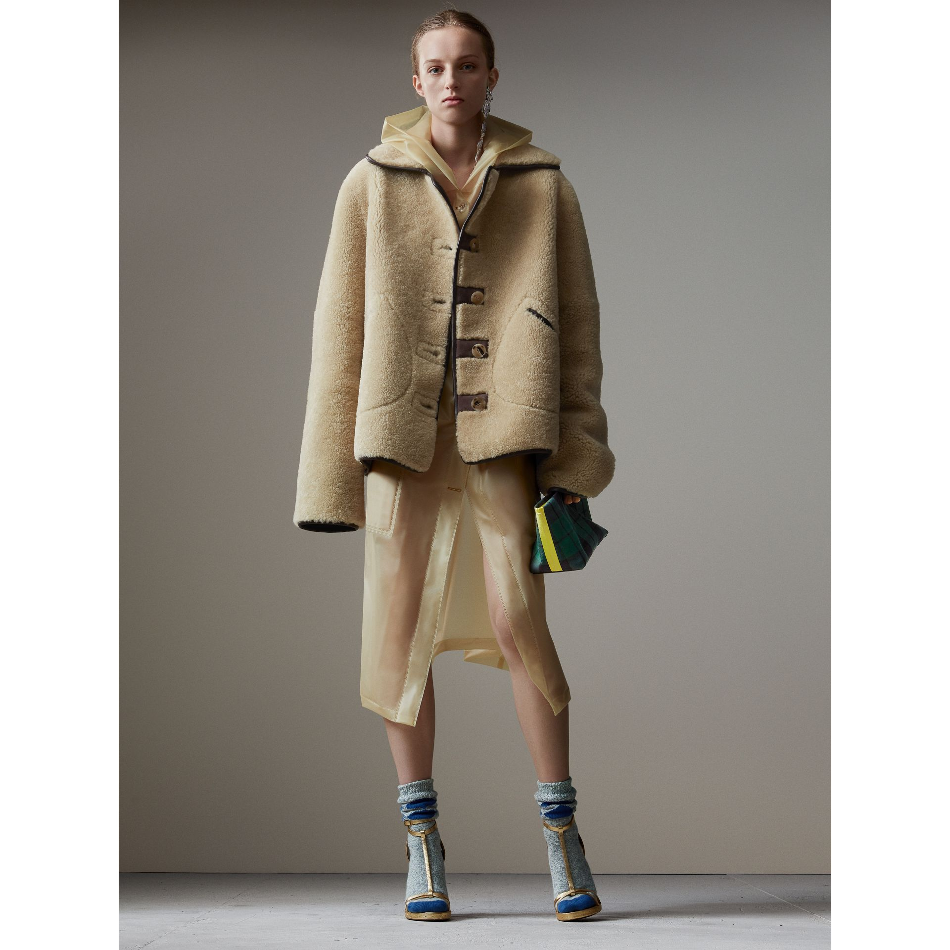 Shearling and Lambskin Jacket in Chocolate/light Citrus - Women | Burberry United Kingdom - gallery image 0