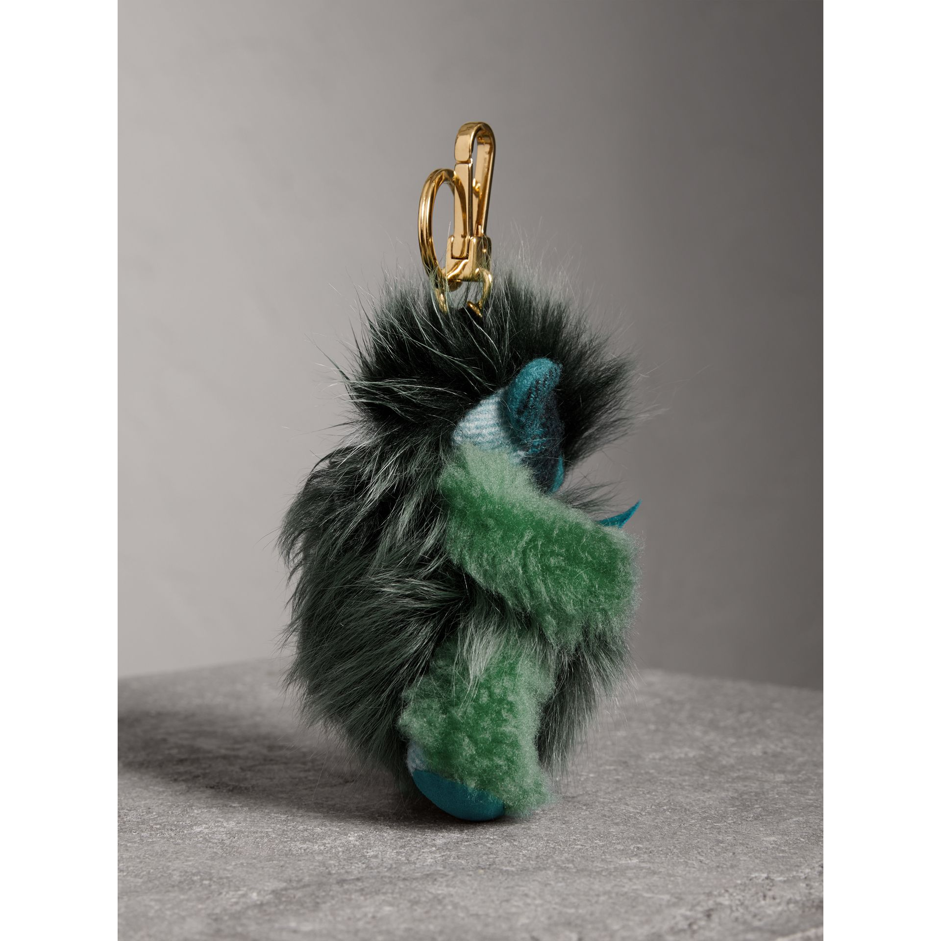 Thomas Bear Pom-Pom Charm in Check Cashmere in Dark Aqua - Women | Burberry United Kingdom - gallery image 3