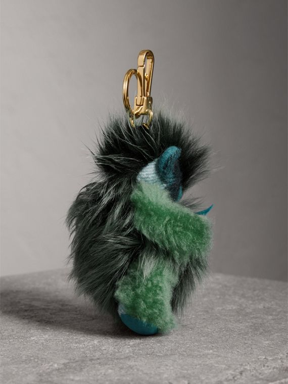 Thomas Bear Pom-Pom Charm in Check Cashmere in Dark Aqua - Women | Burberry United Kingdom - cell image 3