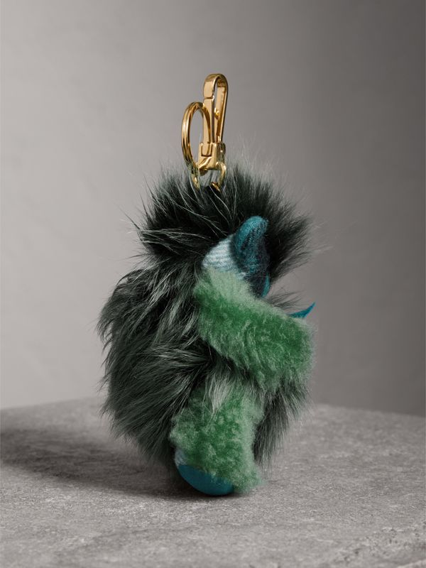 Thomas Bear Pom-Pom Charm in Check Cashmere in Dark Aqua - Women | Burberry - cell image 3