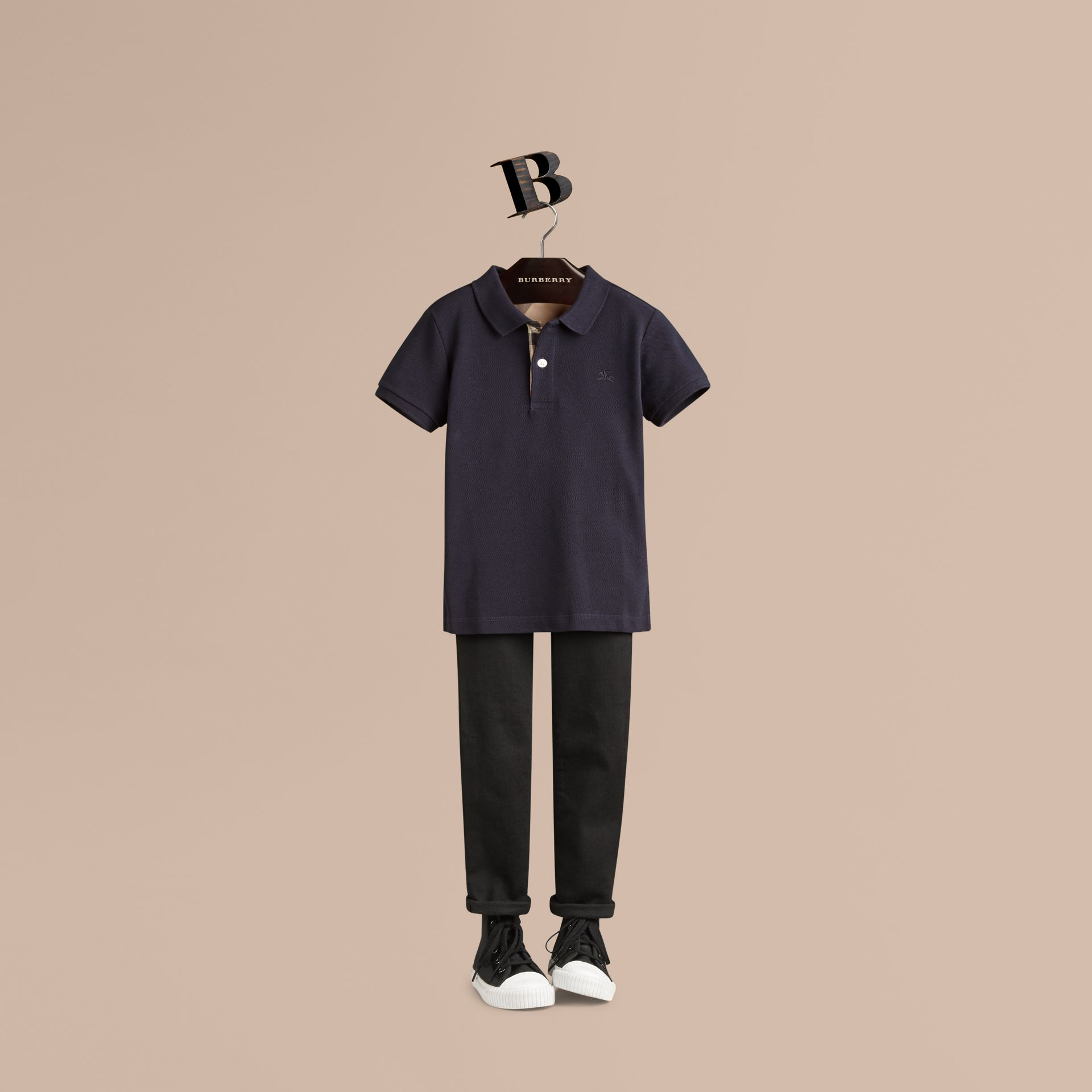 Check Placket Polo Shirt in True Navy - gallery image 1