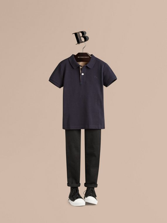 Check Placket Polo Shirt in True Navy