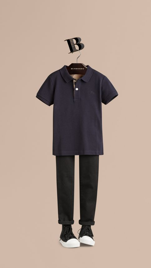 True navy Check Placket Polo Shirt True Navy - Image 1