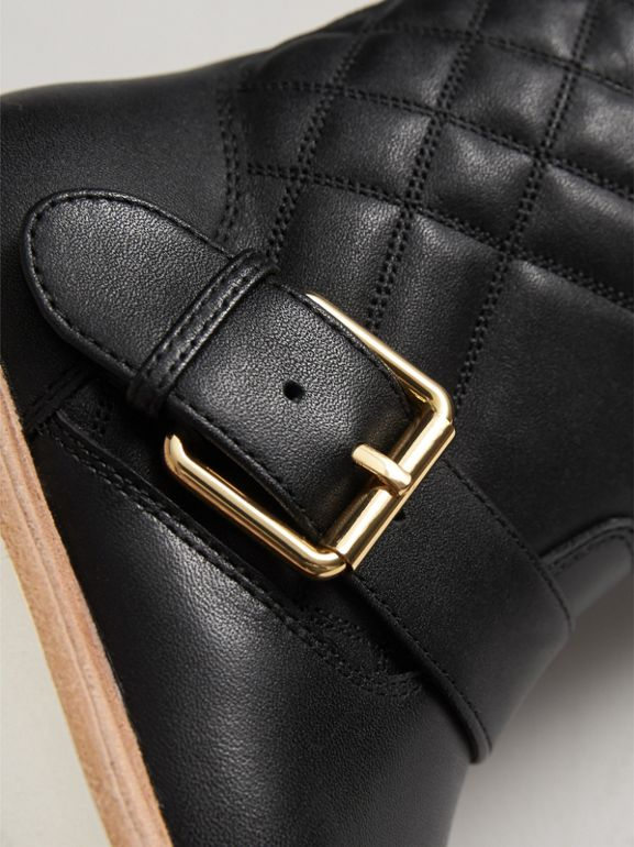 Quilted Leather Weather Boots in Black | Burberry - cell image 1