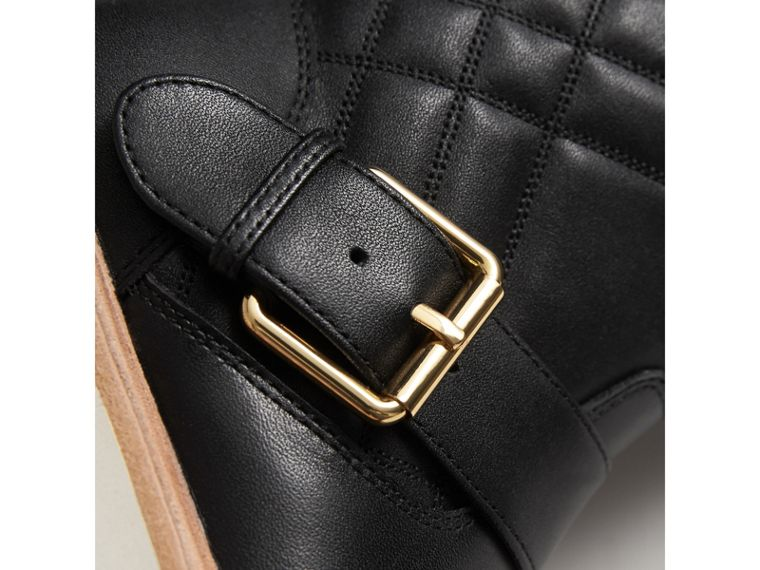 Quilted Leather Weather Boots in Black | Burberry Singapore - cell image 1