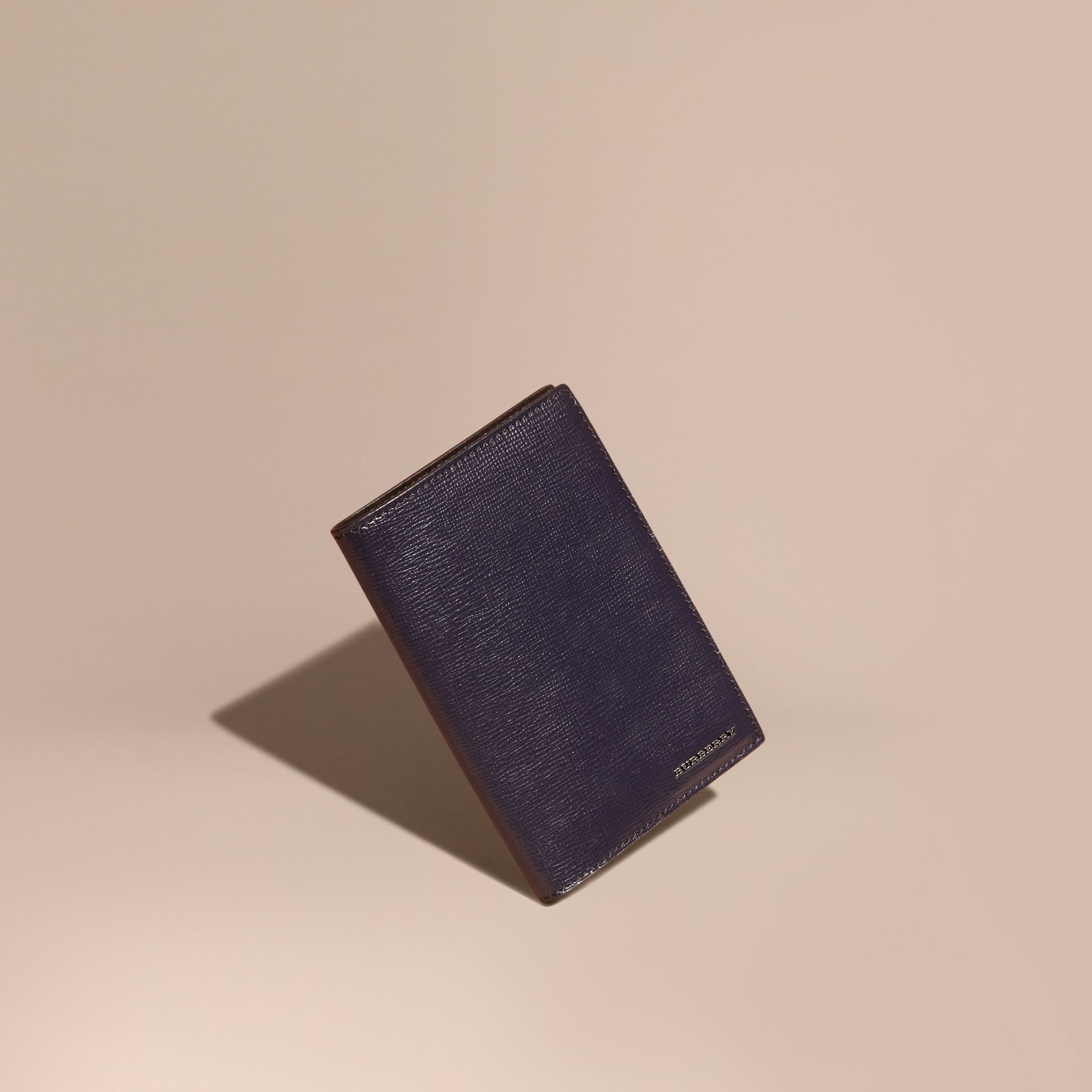 Dark navy London Leather Passport and Card Holder Dark Navy - gallery image 1
