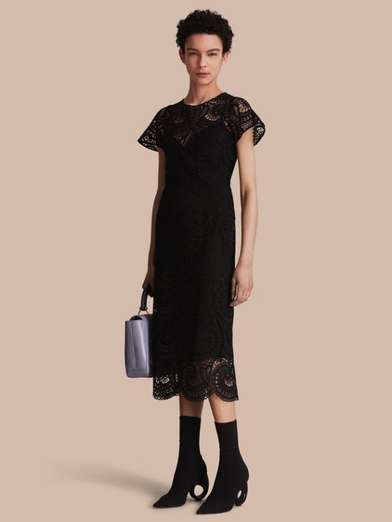 Macramé Lace Shift Dress with Flared Sleeves