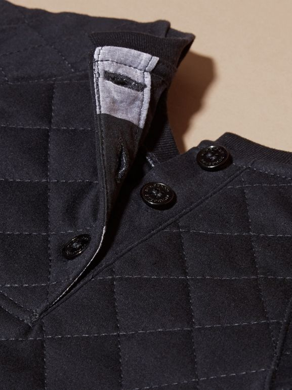 Quilted Jersey and Check Cotton Day Dress in Navy | Burberry United Kingdom - cell image 1