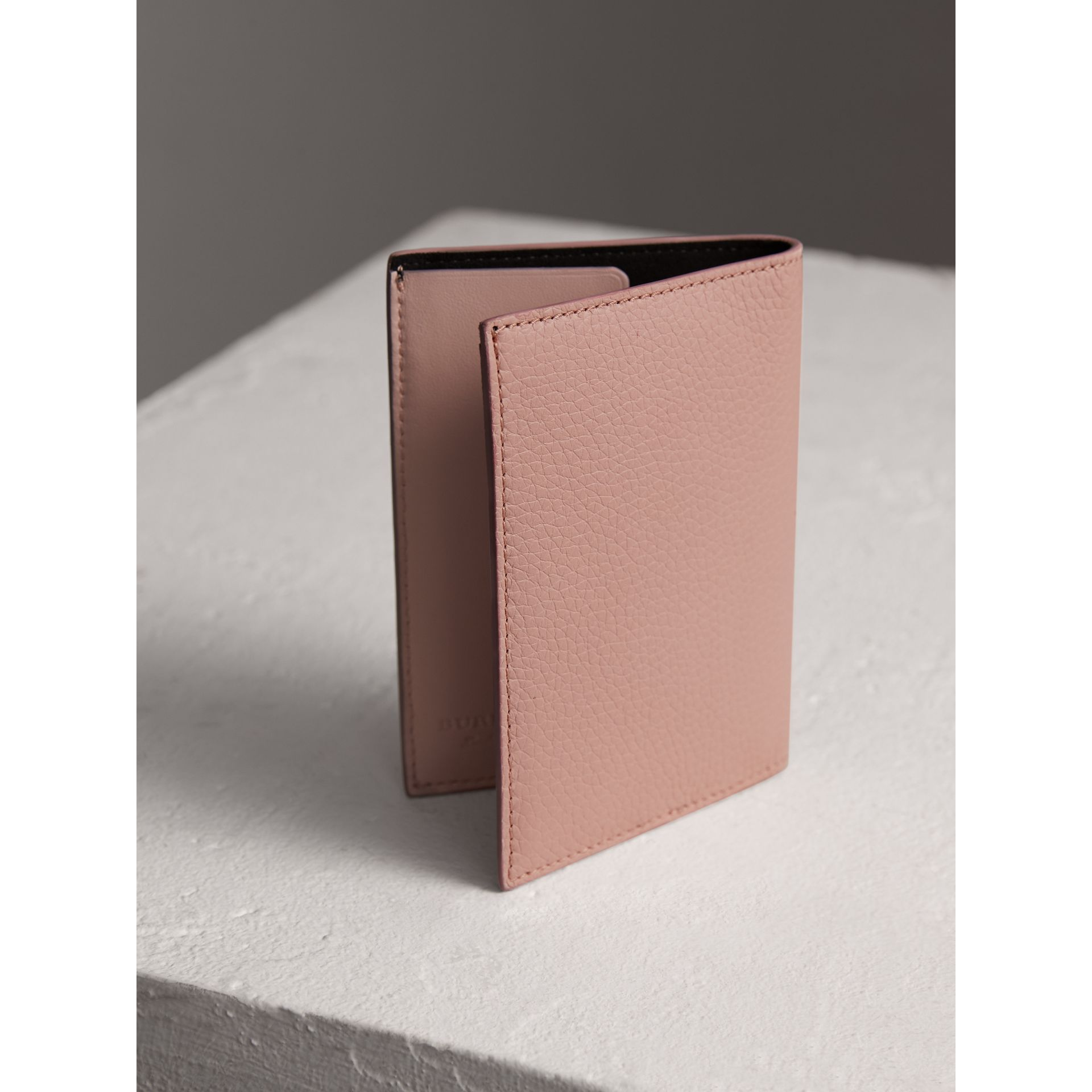 Embossed Leather Passport Holder in Pale Ash Rose | Burberry - gallery image 2