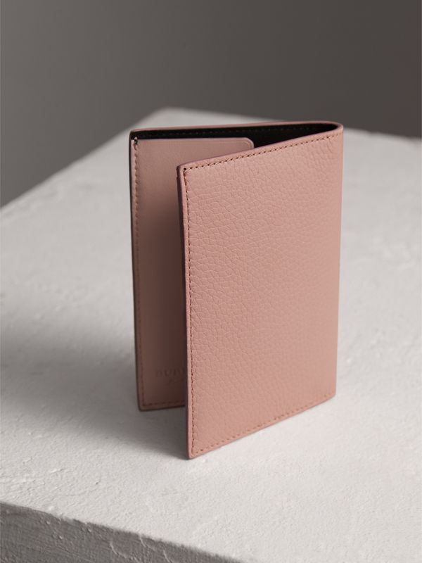 Embossed Leather Passport Holder in Pale Ash Rose | Burberry - cell image 2