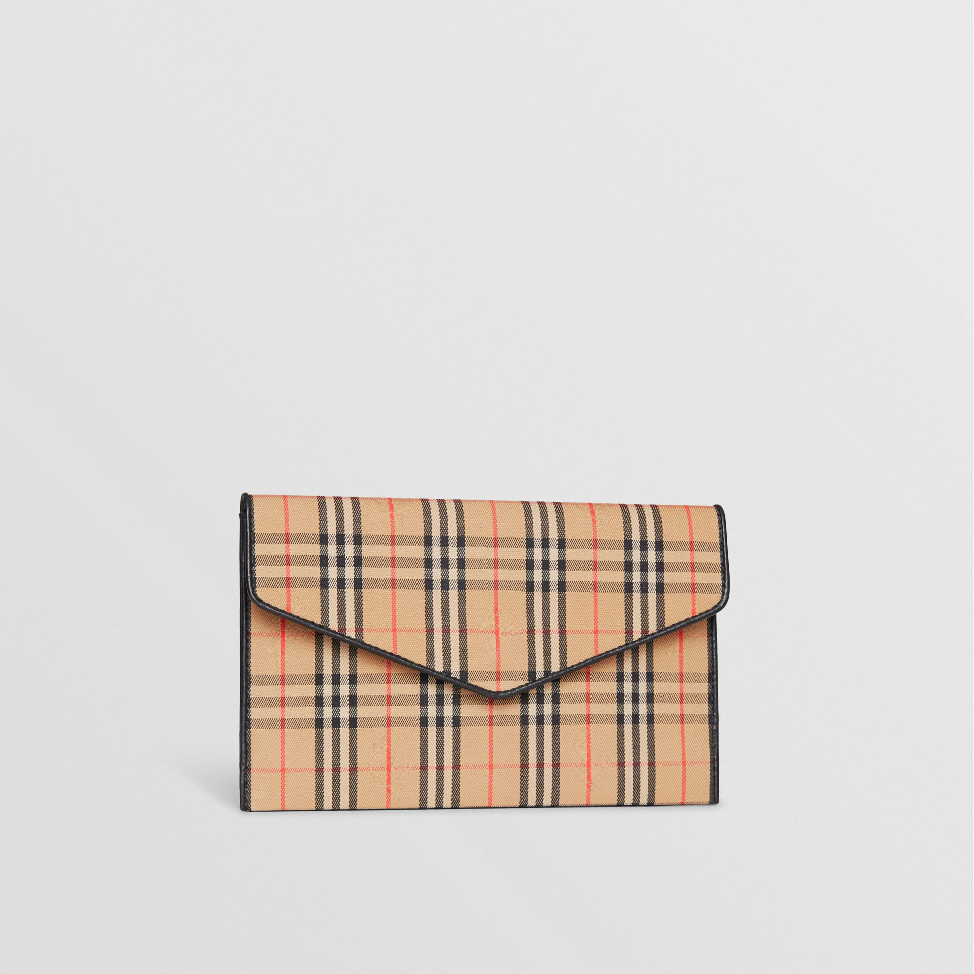 Medium 1983 Check and Leather Envelope Pouch in Black - Women | Burberry - gallery image 6