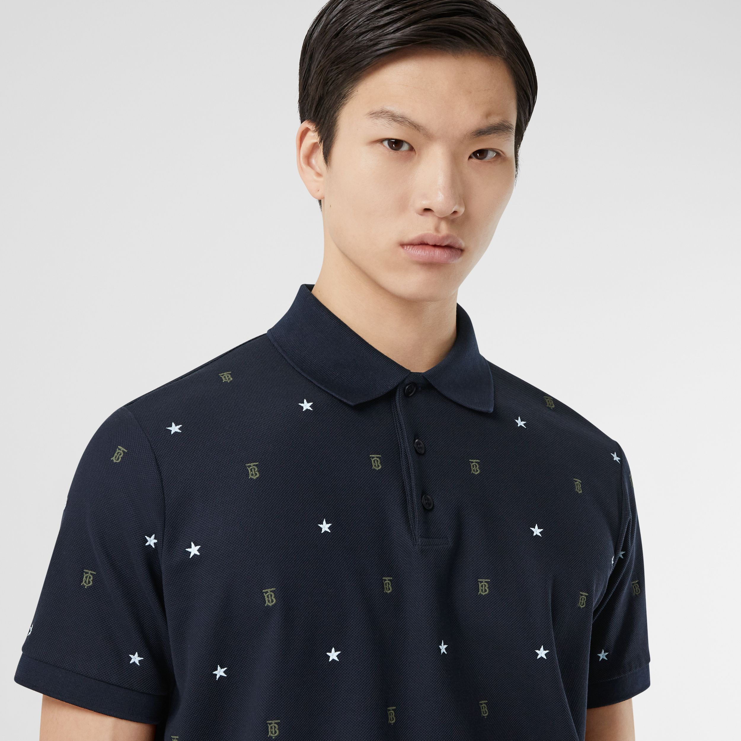 Star and Monogram Motif Cotton Piqué Polo Shirt in Navy - Men | Burberry - 2
