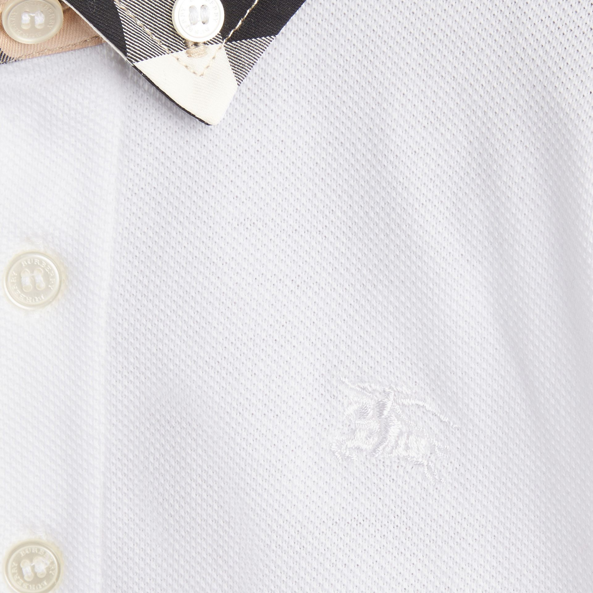 Check Collar Polo Shirt in White | Burberry - gallery image 1