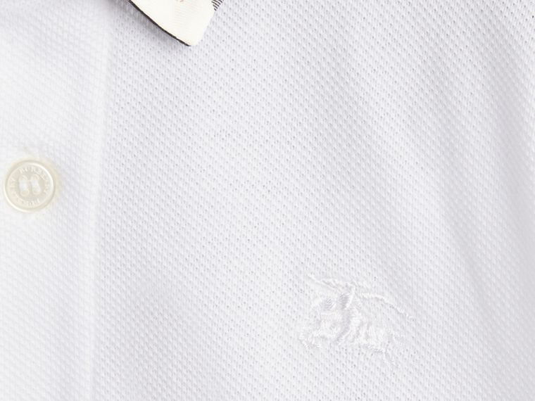 Check Collar Polo Shirt in White | Burberry - cell image 1