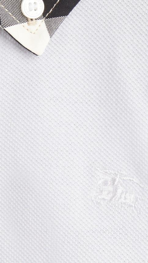 Blanc Polo avec col à motif check Blanc - Image 2