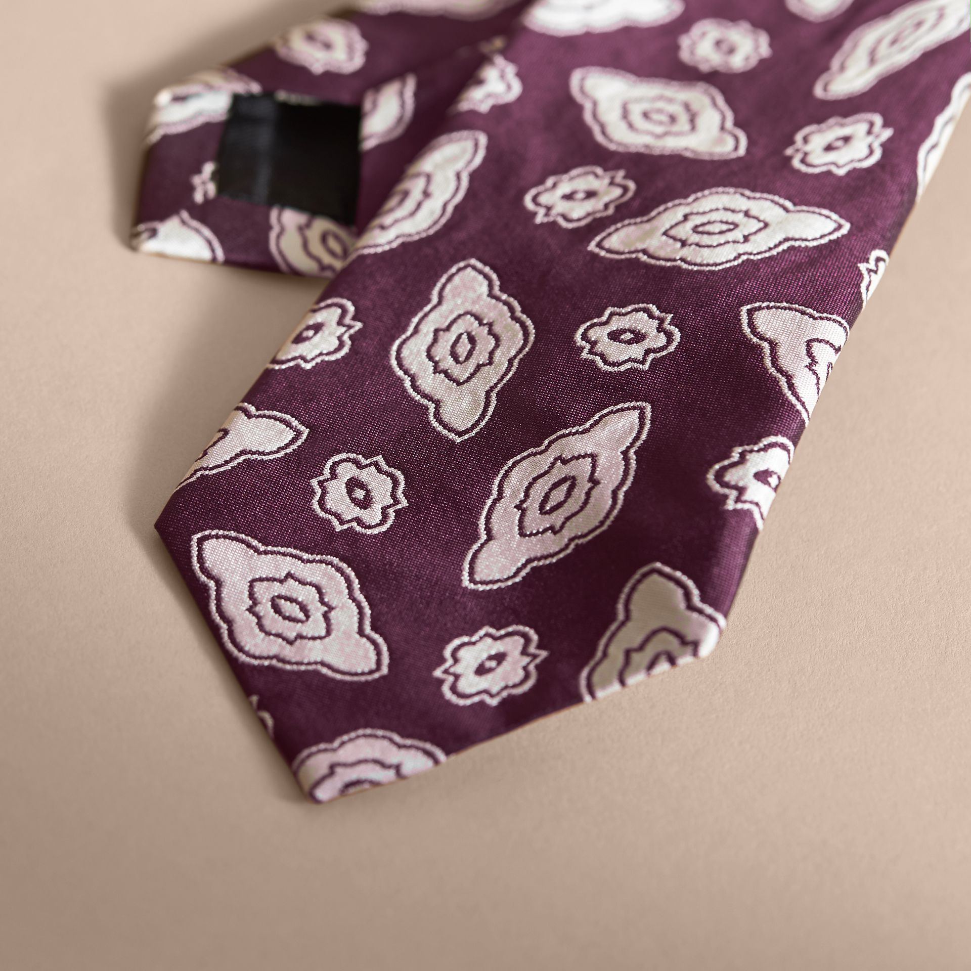 Modern Cut Silk Geometric Jacquard Tie Purple Black - gallery image 2