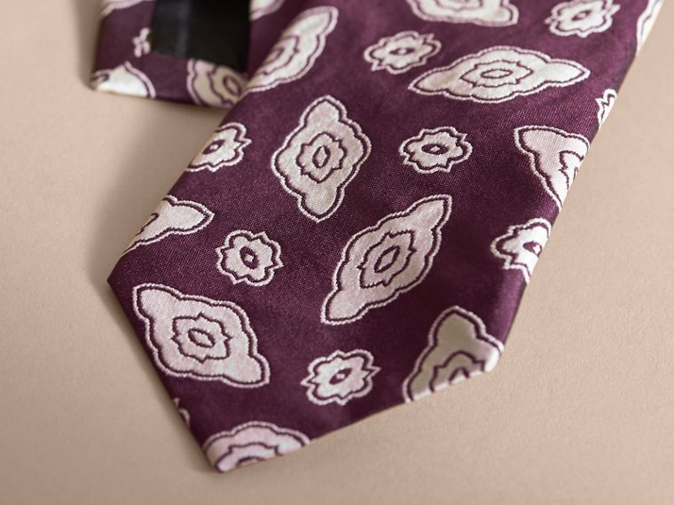 Modern Cut Silk Geometric Jacquard Tie Purple Black - cell image 1