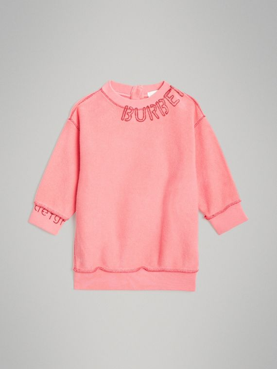 Stencil Logo Print Cotton Sweater Dress in Bright Pink