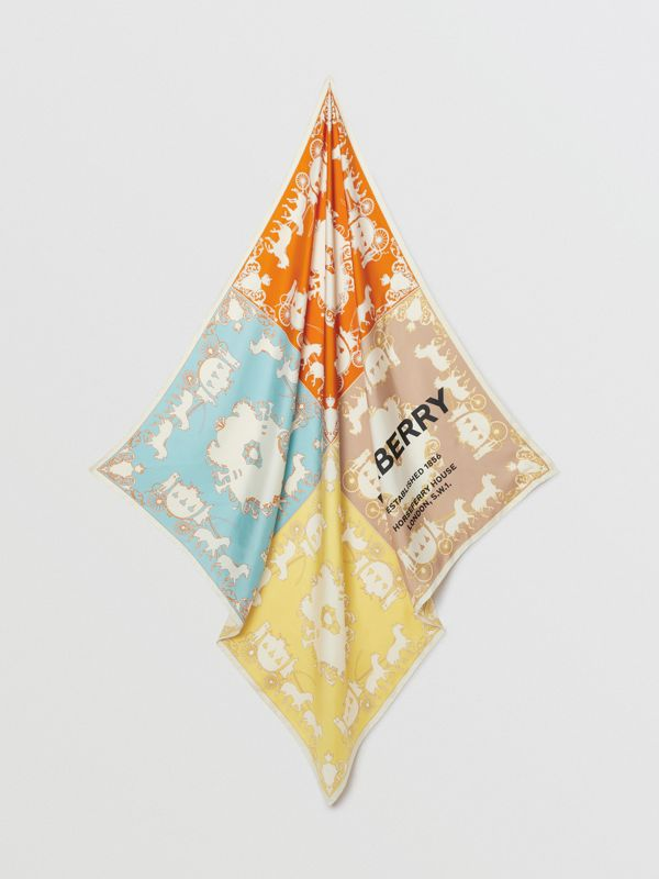 Archive Scarf Print Silk Large Square Scarf in Multicolour | Burberry Australia - cell image 2