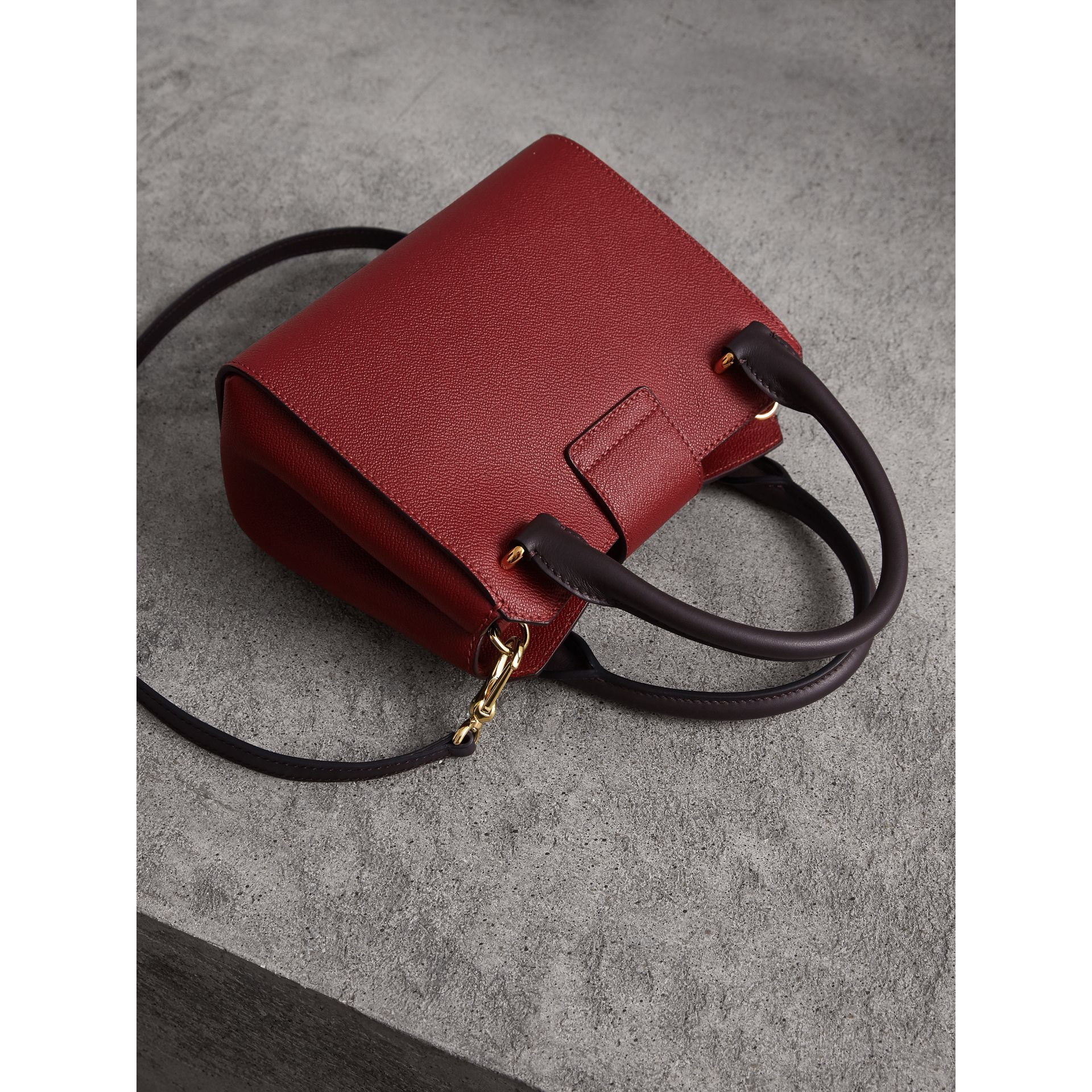 The Small Buckle Tote in Two-tone Leather in Burgundy - Women | Burberry United Kingdom - gallery image 5