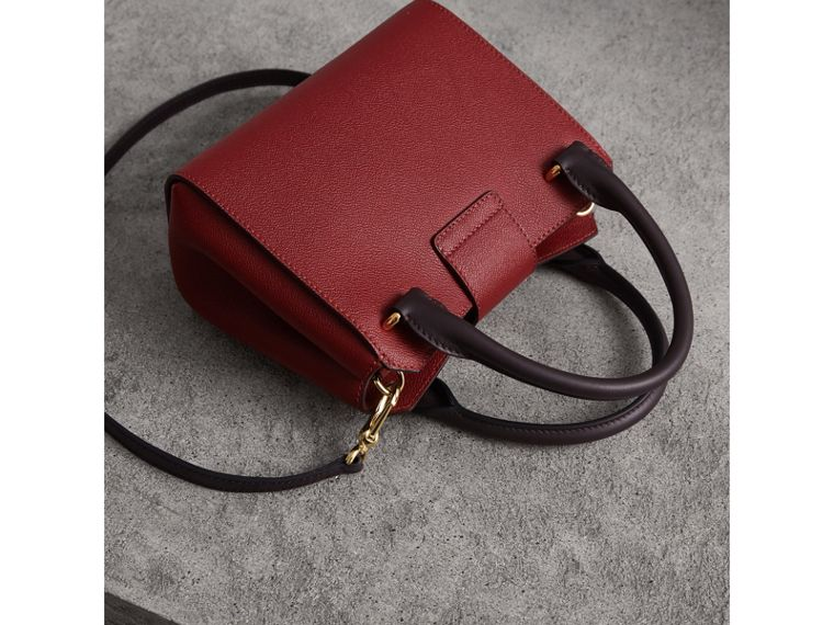 The Small Buckle Tote in Two-tone Leather in Burgundy - Women | Burberry United States - cell image 4