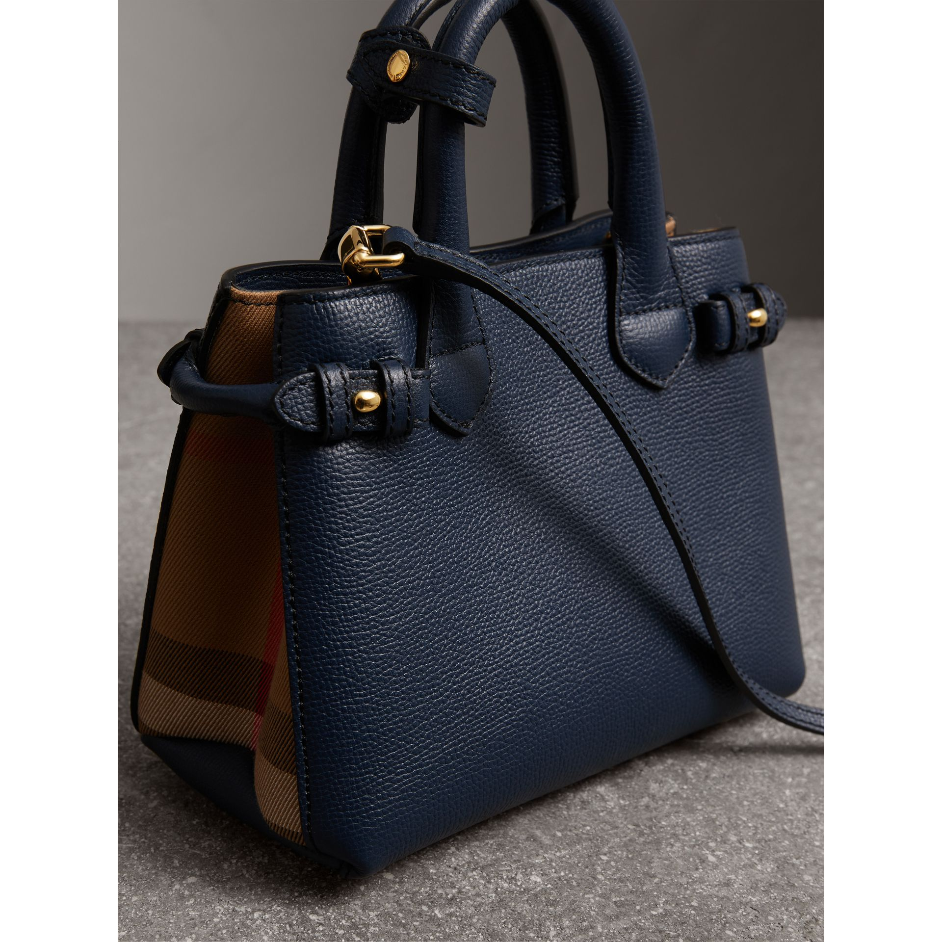 The Baby Banner in Leather and House Check in Ink Blue - Women | Burberry United States - gallery image 3