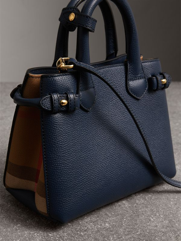 The Baby Banner in Leather and House Check in Ink Blue - Women | Burberry United States - cell image 3