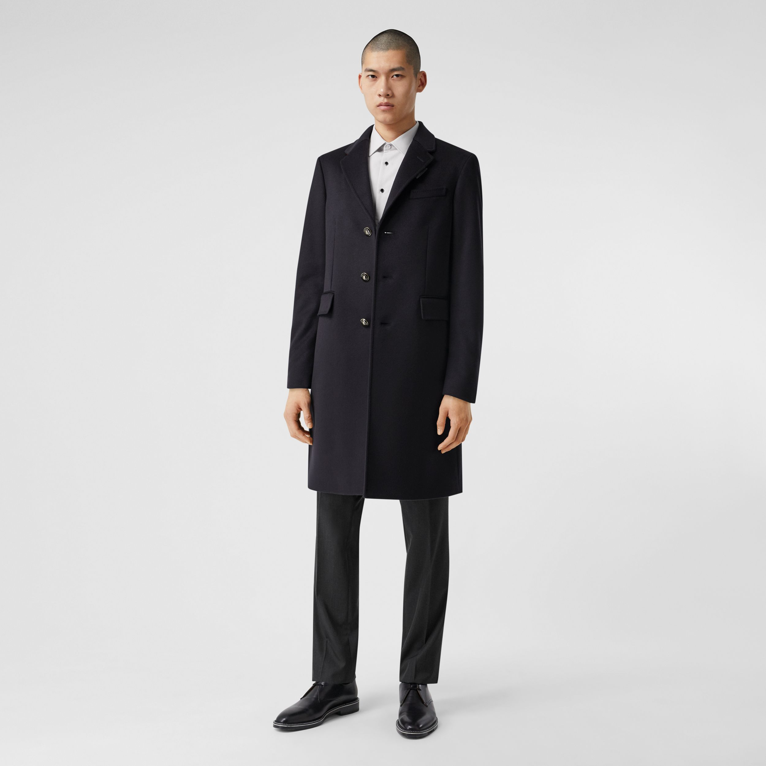 Button Detail Wool Cashmere Tailored Coat in Navy - Men | Burberry - 1