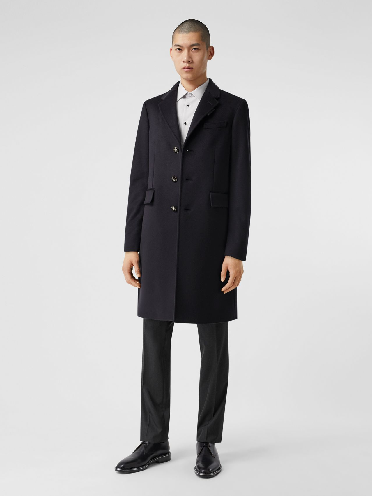 Button Detail Wool Cashmere Tailored Coat in Navy