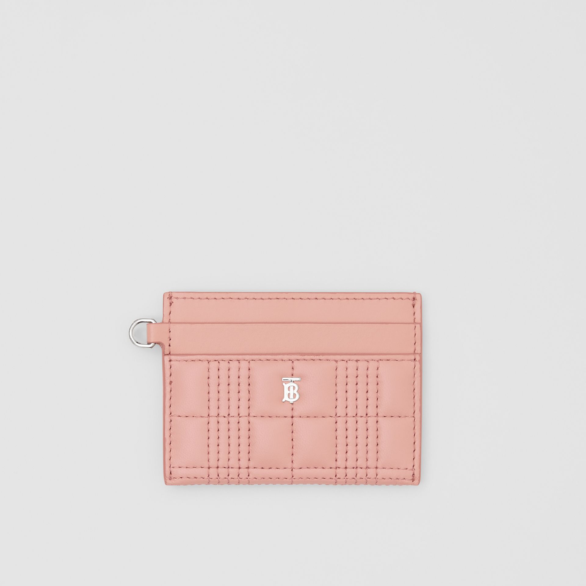 Monogram Motif Quilted Lambskin Card Case in Blush Pink - Women | Burberry - gallery image 0