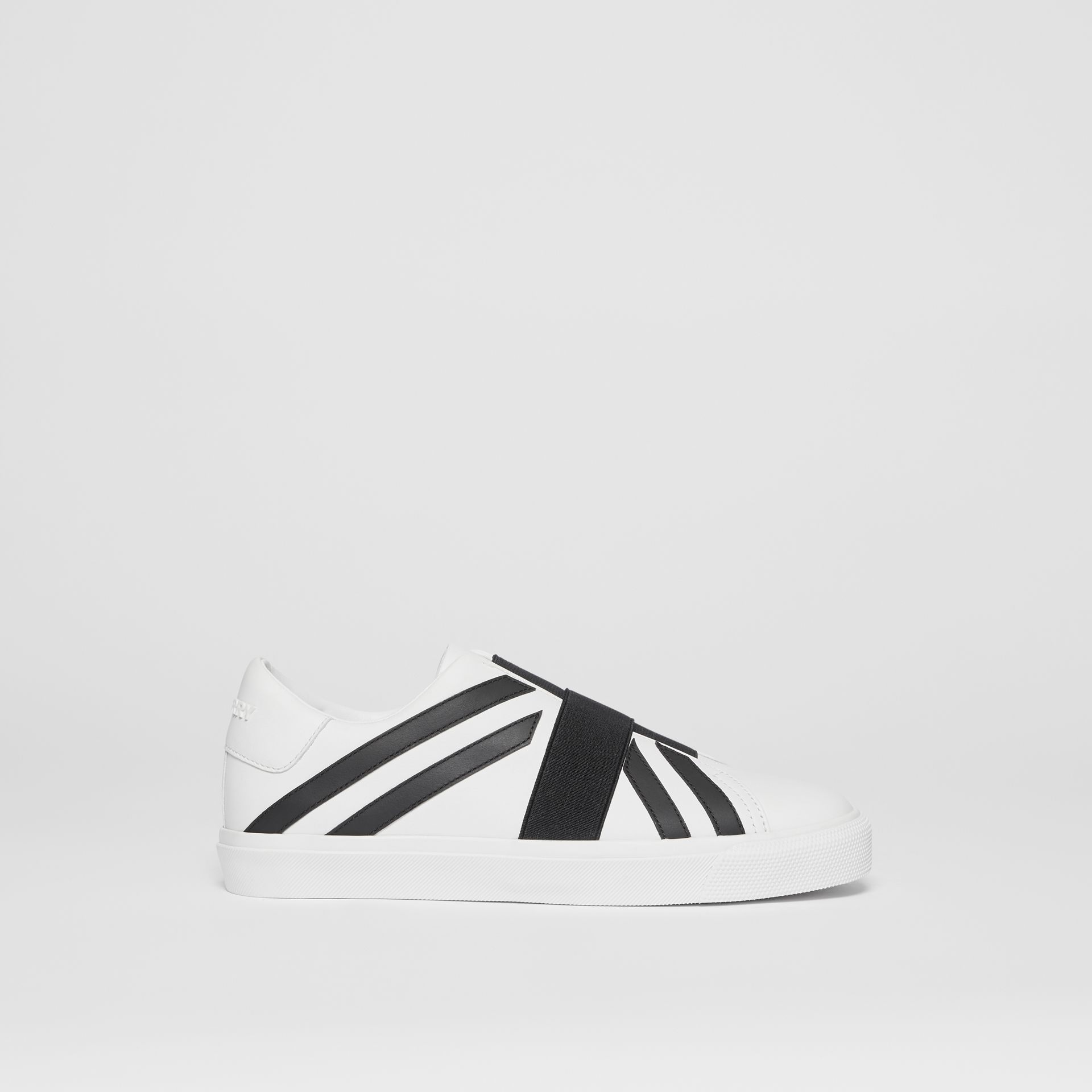 Union Jack Motif Slip-on Sneakers in Optic White/black - Women | Burberry Singapore - gallery image 5