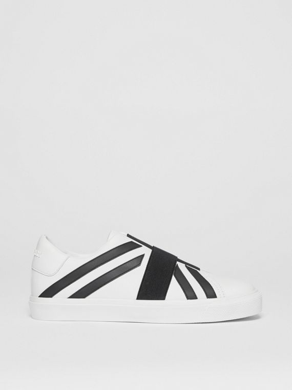 Union Jack Motif Slip-on Sneakers in Optic White/black