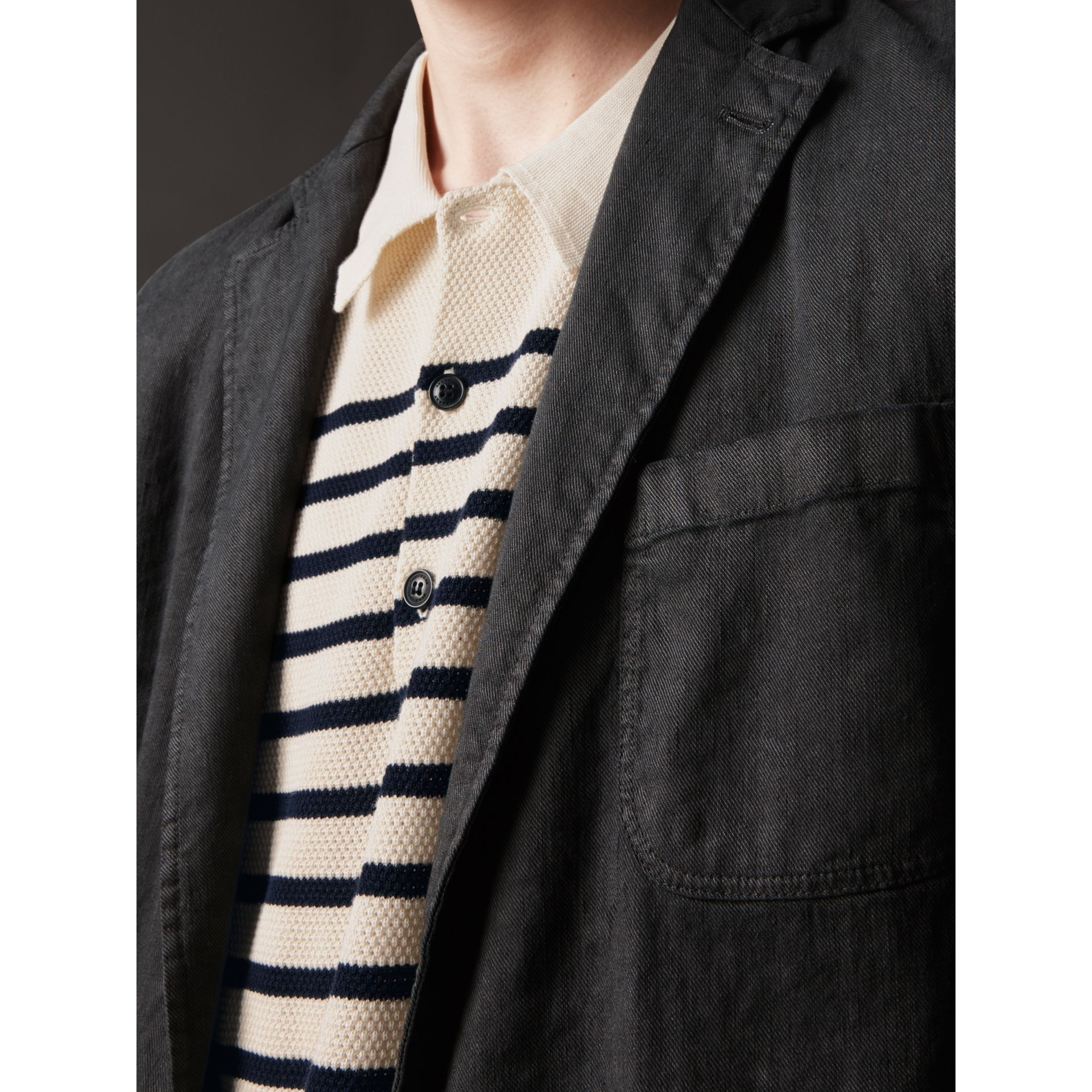 Slim Fit Linen Cotton Tailored Jacket in Dark Charcoal - Men | Burberry - gallery image 1