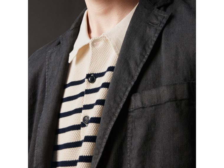 Slim Fit Linen Cotton Tailored Jacket in Dark Charcoal - Men | Burberry - cell image 1