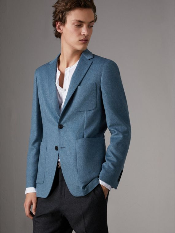 Soho Fit Lightweight Cashmere Tailored Jacket in Slate Blue Melange