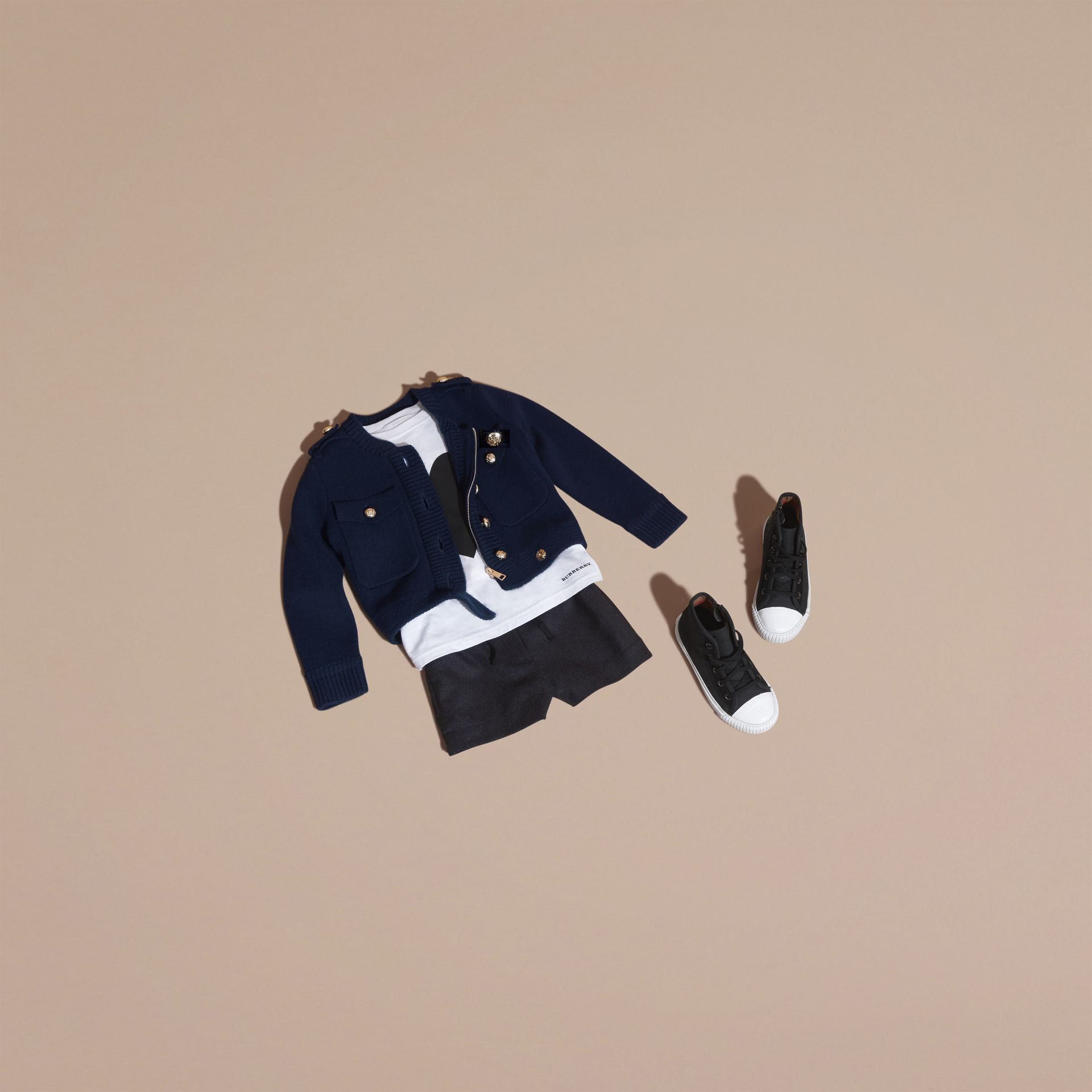 Navy Wool Cashmere Military Knitted Jacket - gallery image 5