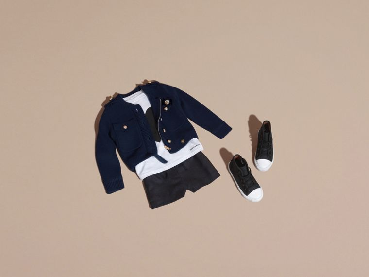 Navy Wool Cashmere Military Knitted Jacket - cell image 4