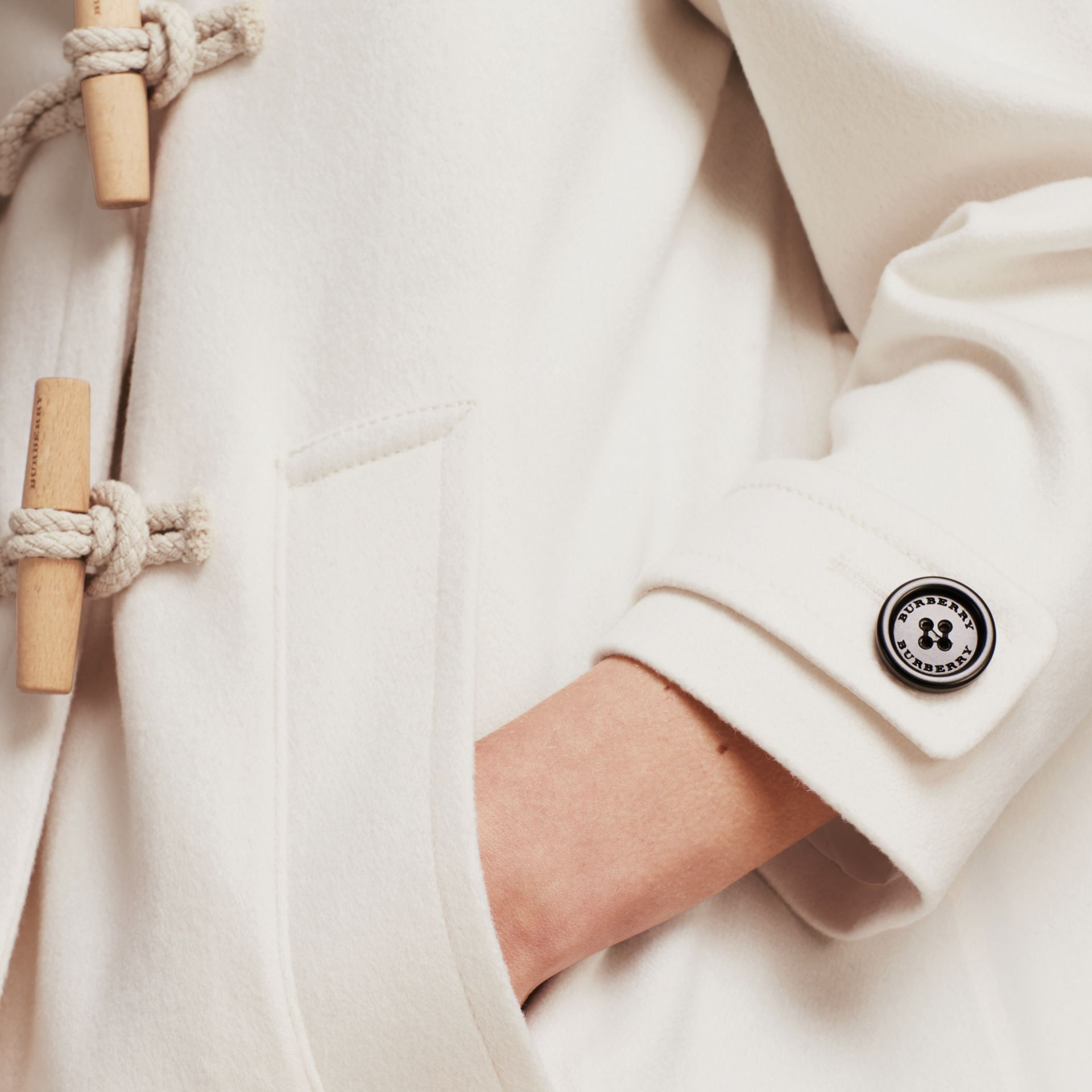 White Cashmere Duffle Coat White - gallery image 5