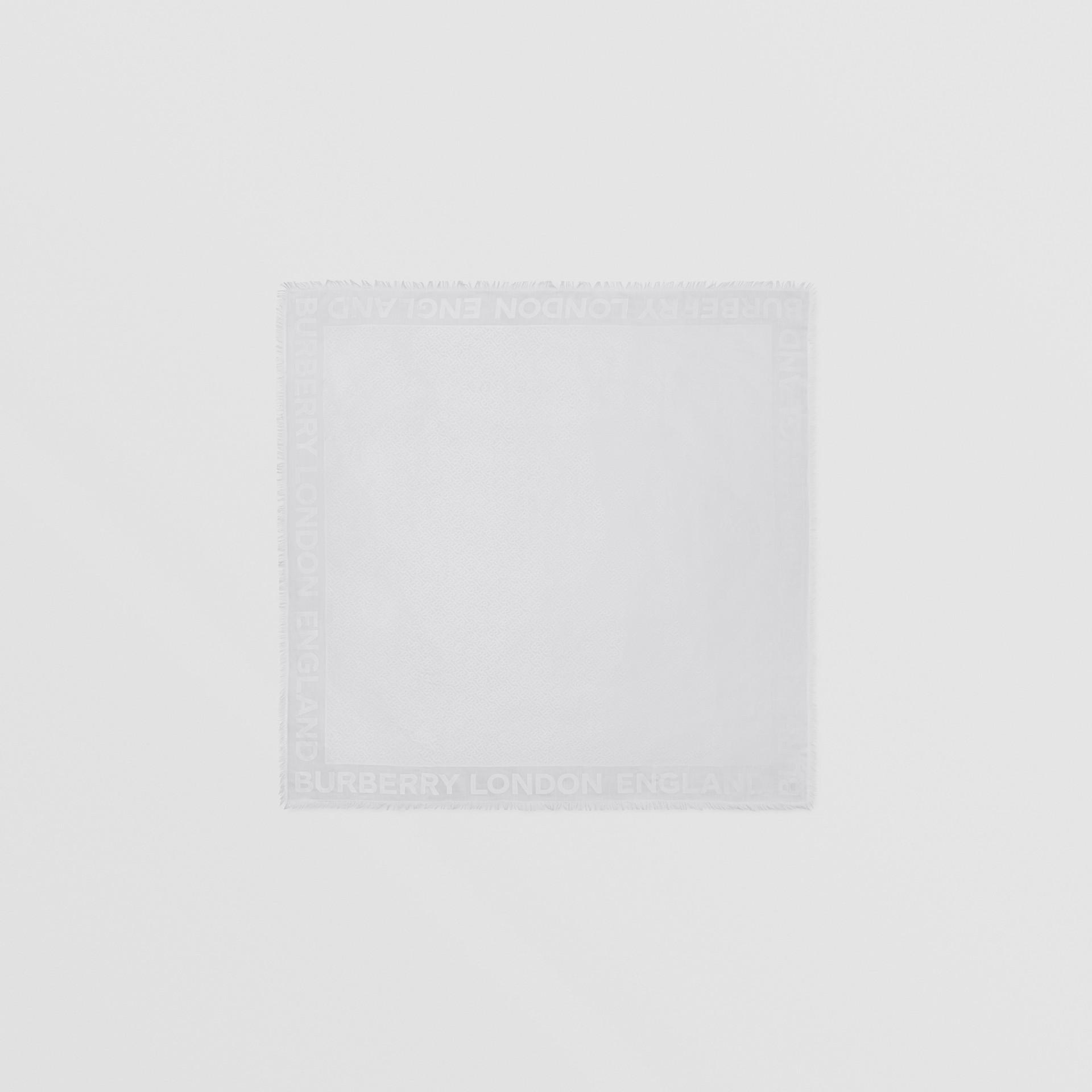 Monogram Silk Wool Jacquard Large Square Scarf in Light Pebble Grey | Burberry - gallery image 0
