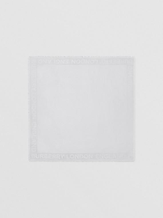 Monogram Silk Wool Jacquard Large Square Scarf in Light Pebble Grey