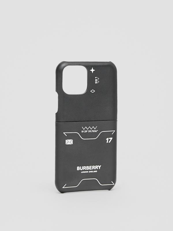 Symbol Print Leather iPhone 11 Pro Case in Black - Men | Burberry - cell image 2