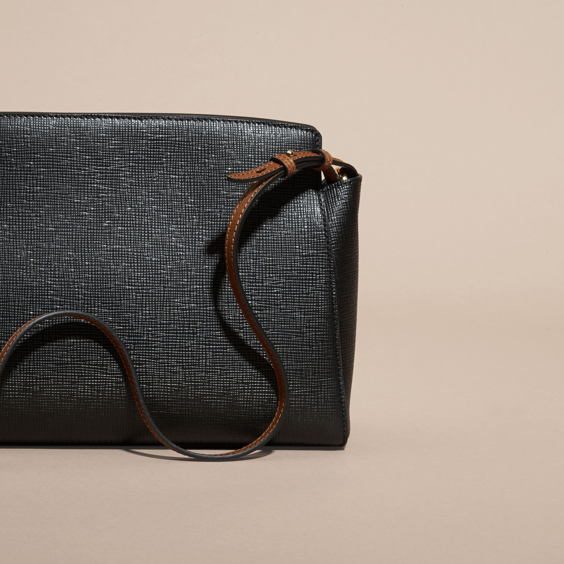Black The Saddle Clutch in Textured Bonded Leather - gallery image 5