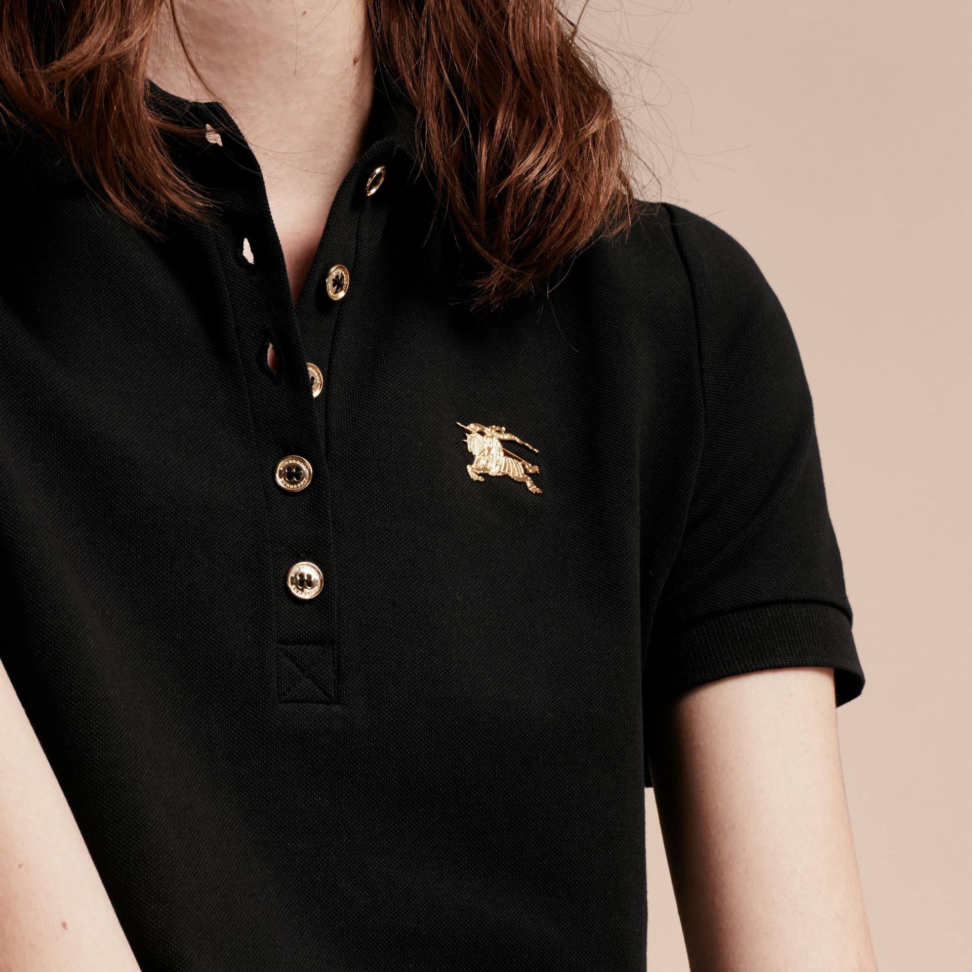 Black Stretch Cotton Piqué Polo Shirt Black - gallery image 5
