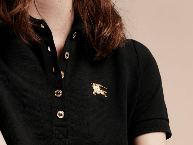 Black Stretch Cotton Piqué Polo Shirt Black - cell image 4