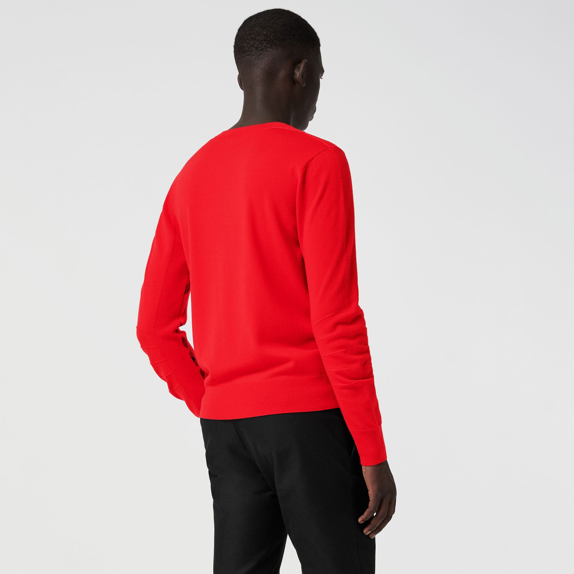 Check Detail Merino Wool Sweater in Bright Red - Men | Burberry - gallery image 2