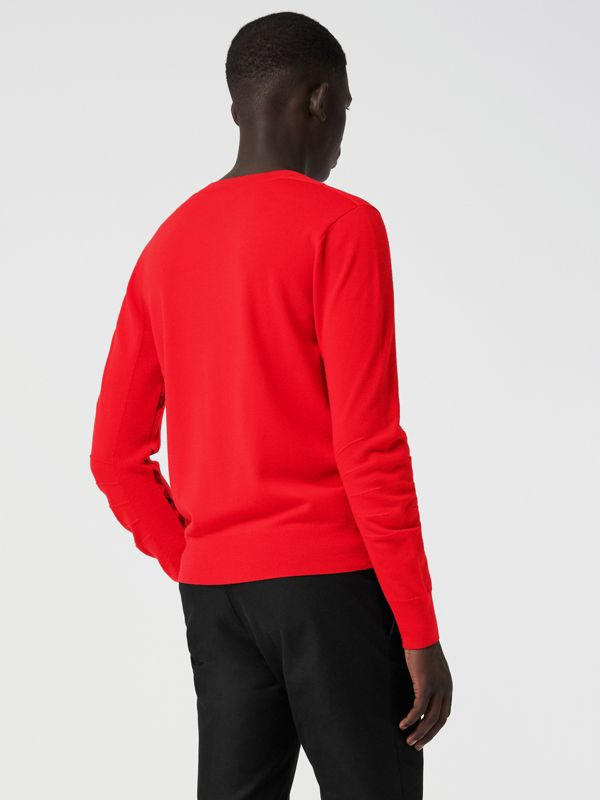 Check Detail Merino Wool Sweater in Bright Red - Men | Burberry - cell image 2