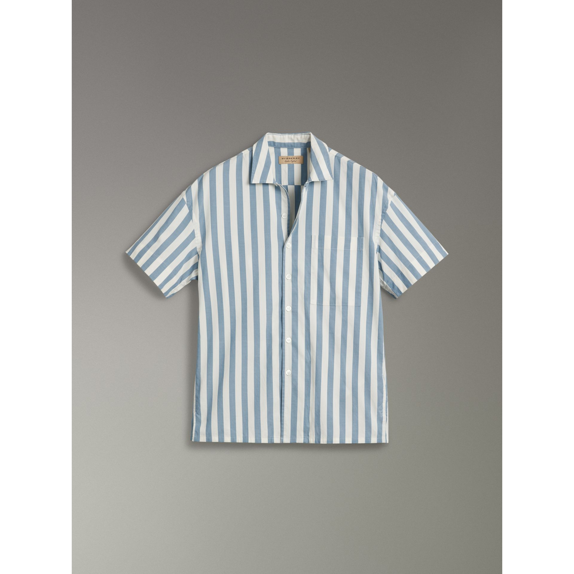 Short-sleeved Striped Cotton Shirt in Pale Opal - Men | Burberry - gallery image 3