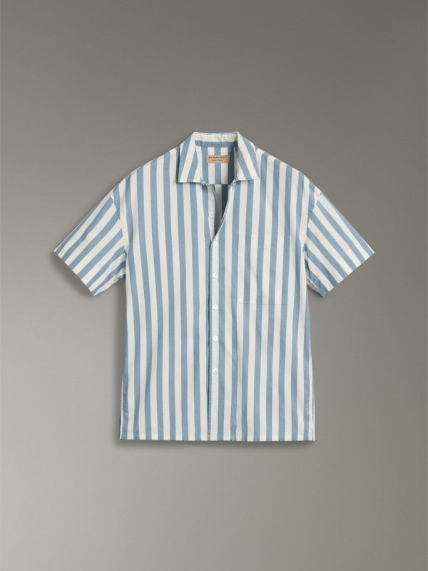 Short-sleeved Striped Cotton Shirt in Pale Opal - Men | Burberry United Kingdom - cell image 3