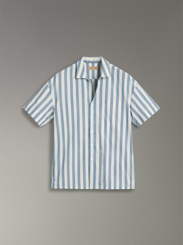 Camisa de algodão listrada com manga curta (Opala Claro) - Homens | Burberry - cell image 3