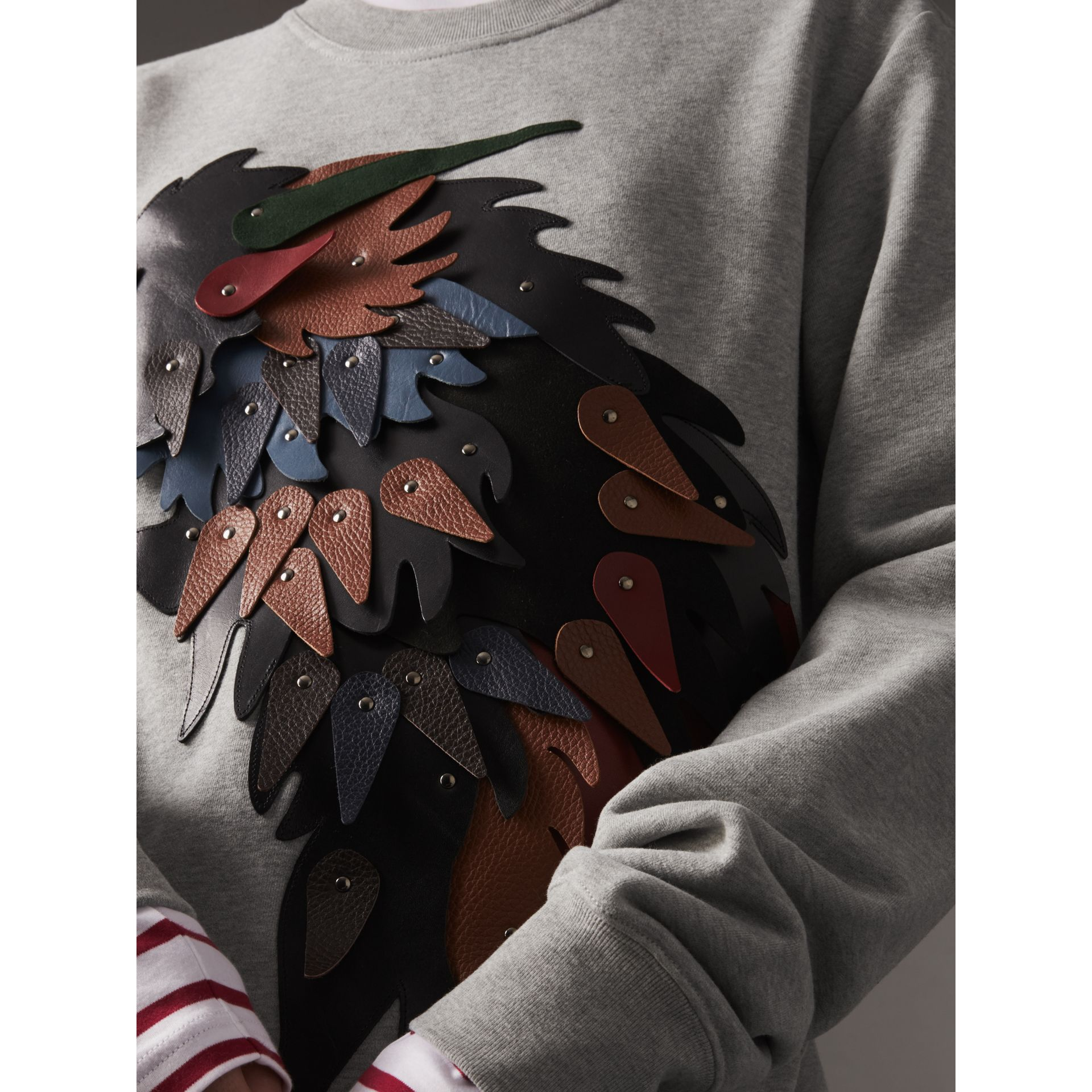 Unisex Beasts Leather Appliqué Cotton Sweatshirt in Pale Grey Melange - Women | Burberry - gallery image 2